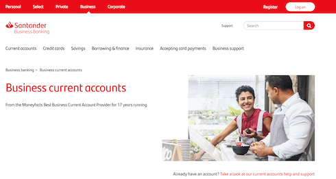 santander business banking website